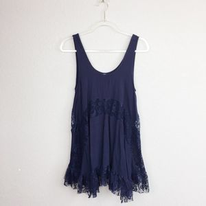 • MITTOSHOP • Navy Tiered Lace Tank Sz M